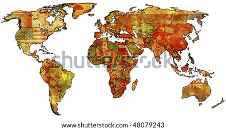 old political map of world with country flags - stock photo