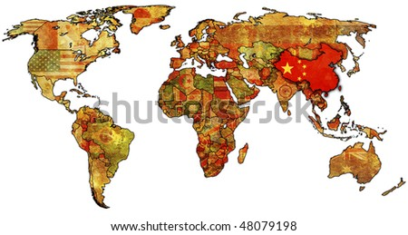 old political map of world with flag of china - stock photo