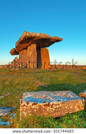 old Polnabrone Dolmen in Burren, Co. Clare - Ireland - stock photo