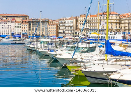 Old port in Marseilles, France - stock photo