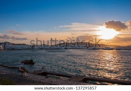 Old Port in the Chora of Mykonos Island at sunset. Greece. - stock photo