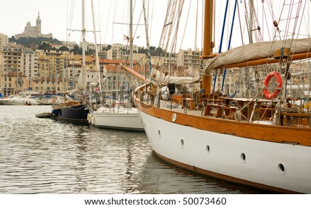 Old port (Vieux Port) in Marseille, France - stock photo