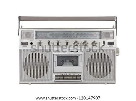 Old portable cassette stereo isolated with clipping path. - stock photo