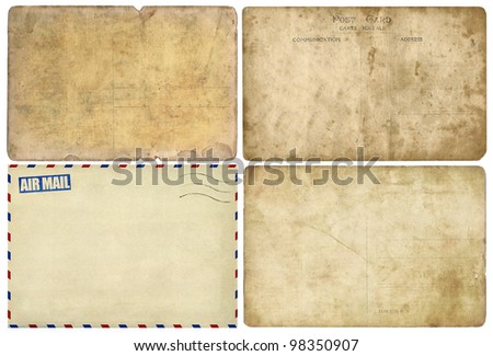 Old post card isolated on white, set - stock photo