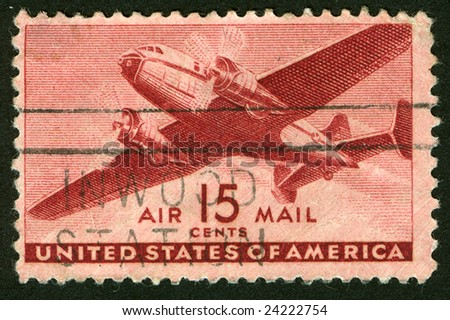 Old postage stamp from USA - stock photo
