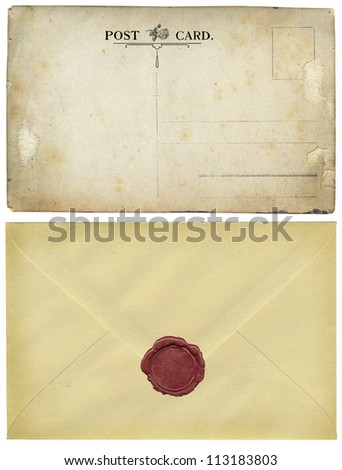 Old postcard and envelope - stock photo