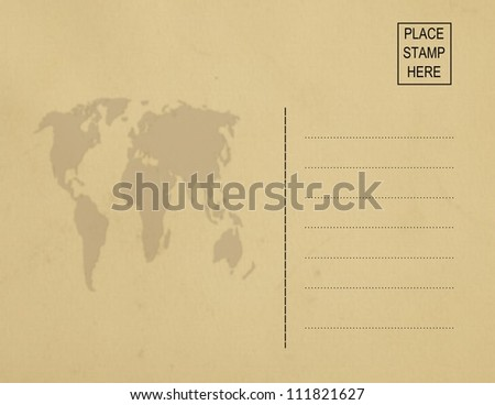 Old postcard (back) world map - stock photo