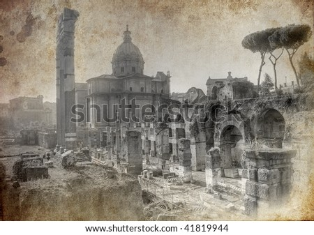 Old postcard from Rome - artistic version - stock photo