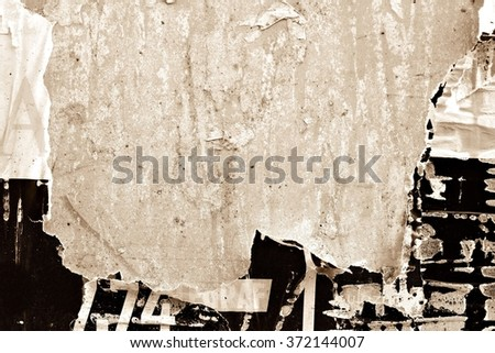 Old posters / Torn posters / Ripped paper grunge background     - stock photo