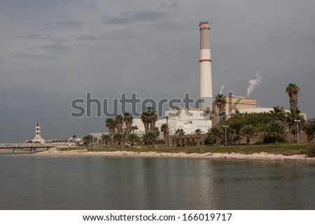 old power plant along the shore of Tel Aviv Israel - stock photo