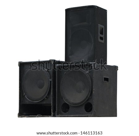 Old powerful stage concerto audio speakers isolated on white background  - stock photo