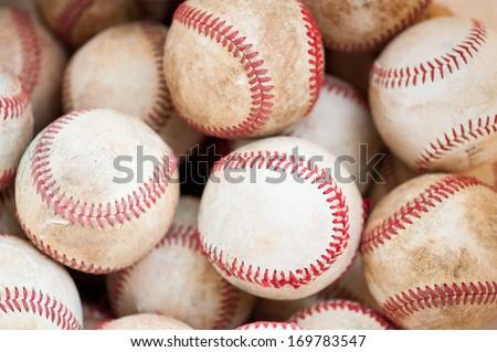 old practice baseballs - stock photo