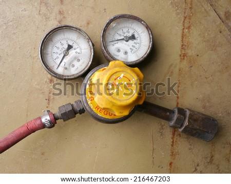 Old Pressure gauge gas - stock photo