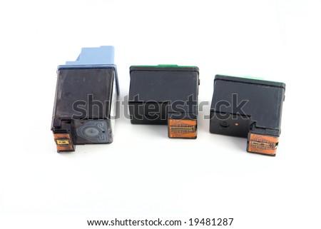 Old printer cartridges isolated on white background - stock photo