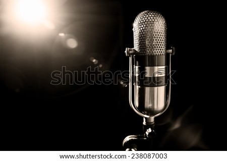old pro studio microphone - stock photo