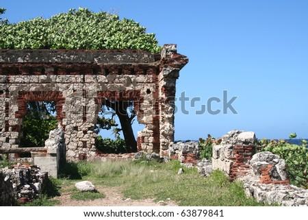 Old Puerto Rico Lighthouse Ruins Near Aguadilla - stock photo