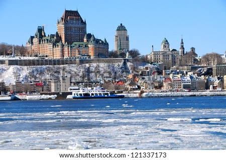 Old Quebec city from Saint Lawrence river, Canada - stock photo