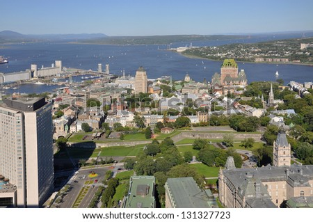 Old Quebec City in summer, view from Observatoire de la Capitale, Quebec City, Quebec, Canada - stock photo