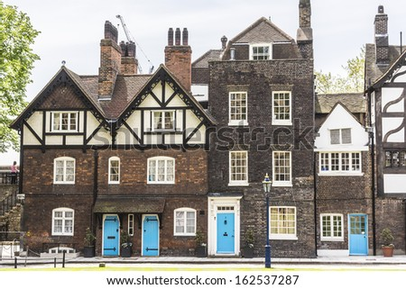 Old Queen's House (now home of TowerÂ?Â?s of London Governor). Tower of London (Her Majesty's Royal Palace and Fortress) - historic castle in central London and popular tourist attraction. - stock photo