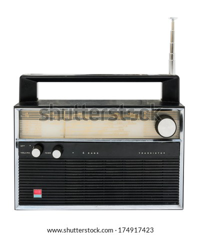 Old radio isolated on a white background with clipping path - stock photo