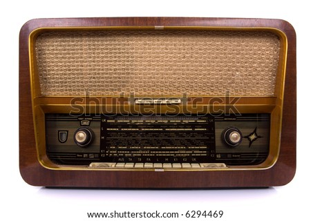 Old radio on white background - stock photo