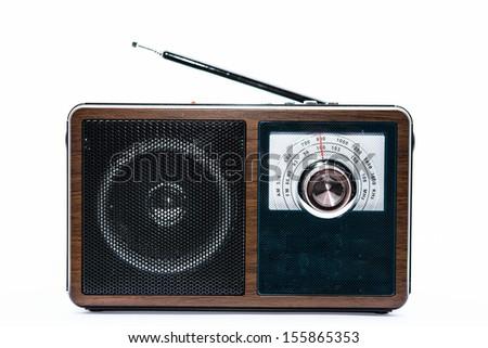 old radio on white backgrounds - stock photo