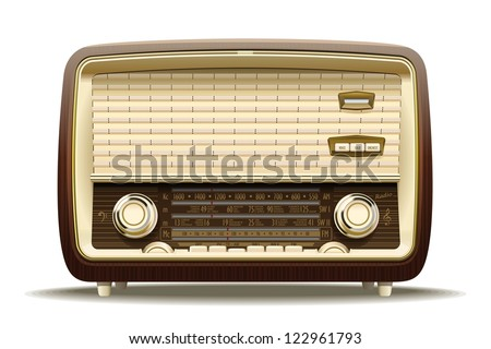 Old radio. Realistic illustration of an old radio receiver of the last century. - stock photo