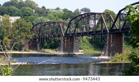 Old Railroad Bridge across the Delaware River, New Jersey. - stock photo