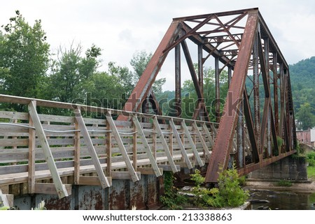 Old railroad bridge converted for pedestrian use, Parsons, West Virginia - stock photo