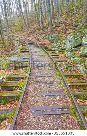 Old Railroad in the Forest of the Blue Ridge Parkway in Virginia - stock photo