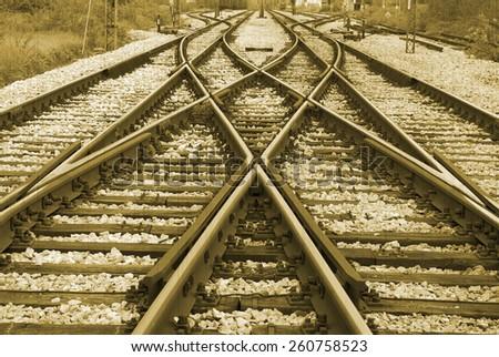 Old railway - stock photo