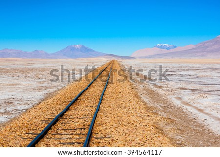 Old railway in Salar de Uyuni (salt flat), Bolivia - stock photo