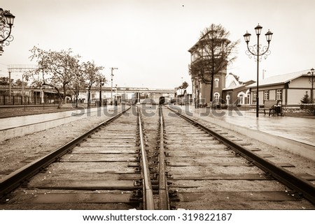 old railway station in Russia at the summer  - stock photo