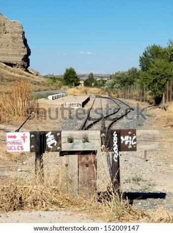 Old railway stop - stock photo