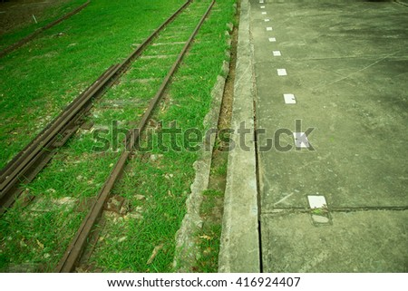 Old railway track in thailand. - stock photo