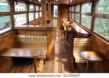 old railway wagon interior vintage - stock photo