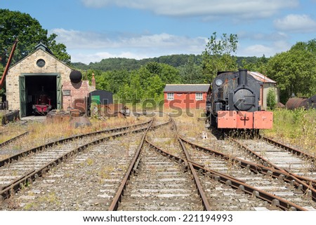 Old Railway yard and steam locomotive at the Beamish Open air museum, England - stock photo