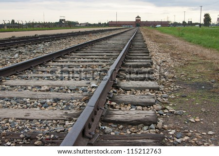 old railways in Auschwitz - Birkenau-II German Nazi concentration and extermination camp, Poland - stock photo