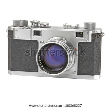 Old rangefinder camera on white background.  - stock photo