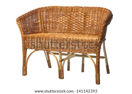 Old rattan sofa isolated on white, hand made - stock photo