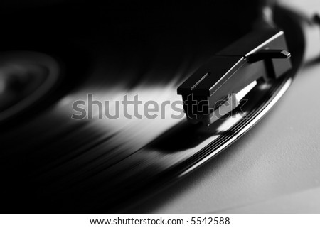 old record LP and player - stock photo