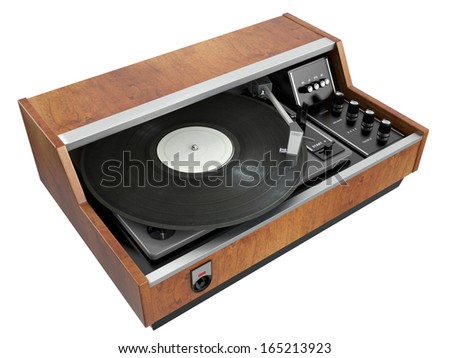 Old record player isolated on white background. 3D image - stock photo