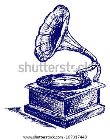 Old record player. Raster - stock photo