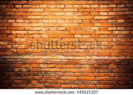 Old red brick wall - stock photo