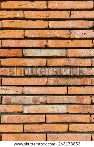 Old red brick, wall texture background, stained tiled brickwork horizontal pattern. - stock photo