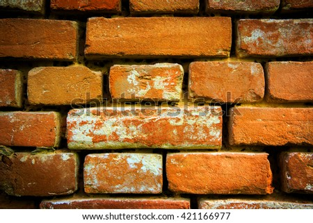 old red brickwork - abstract background - stock photo