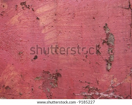 Old red cracked wall background - stock photo