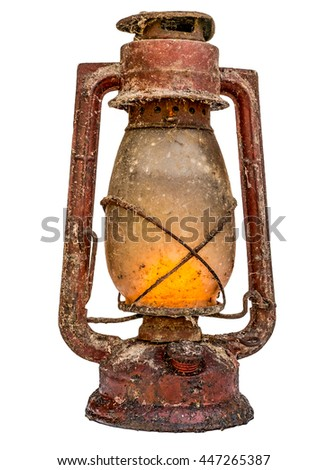 Old red lit vintage lamp isolated on white background - stock photo