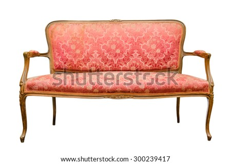 Old red sofa isolated on a white - stock photo