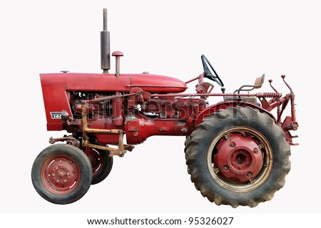 old red tractor isolated on white - stock photo